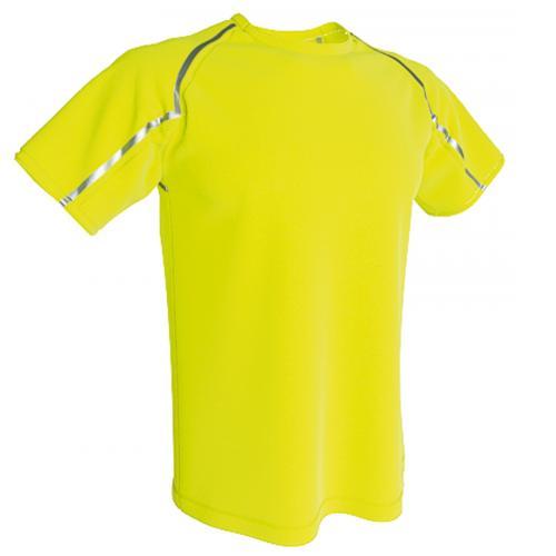 camiseta técnica deportiva Reflectantepersonalizada amarillo flúor