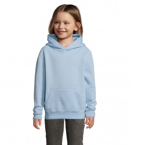 Fabricante textil de sudadera capucha canguro personalizada para colegios - celeste