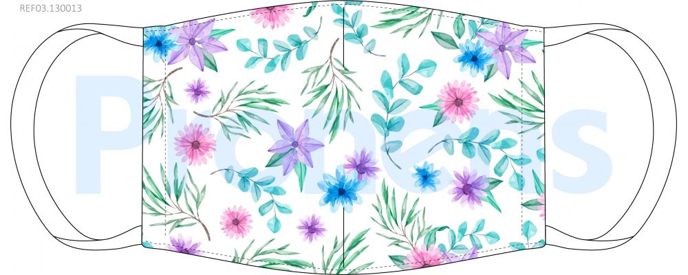 Fabricante mascarilla higiénica reutilizable blanca flores de colores Ref.03.130013 - mascarillas higiénicas Pronens