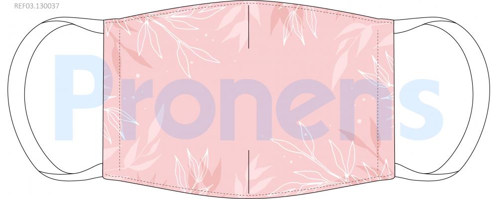 Fabricante mascarilla higiénica reutilizable rosa flores blancas Ref.03.130037 - Mascarillas higiénicas Pronens UNE0065