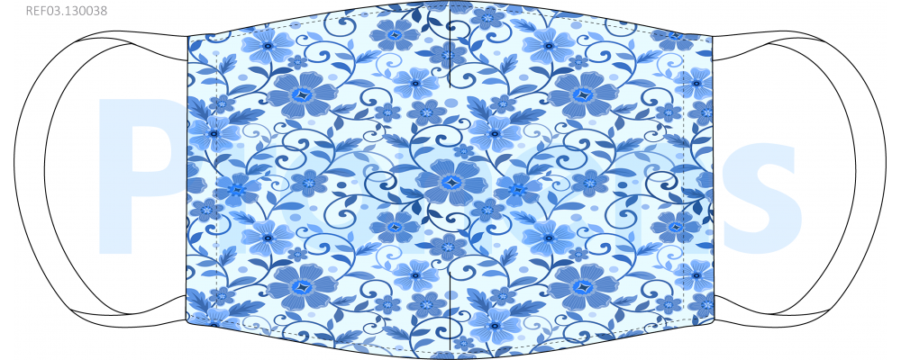 Fabricante mascarilla higiénica reutilizable azul flores azules Ref.03.130038 - Mascarillas higiénicas Pronens UNE0065