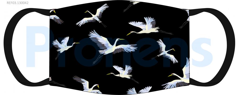 Fabricante mascarilla higiénica lavable negra grullas blancas Ref.03.130042 - Mascarillas higiénicas Pronens UNE0065