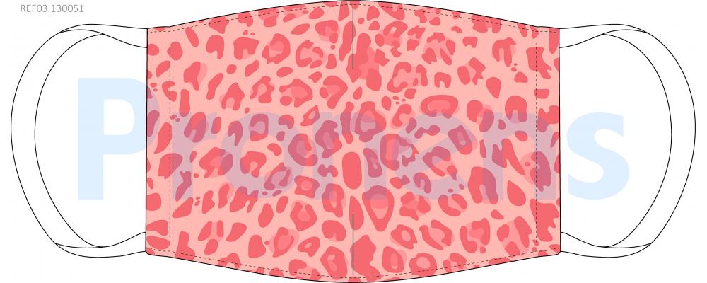 Fabricante mascarilla higiénica reutilizable leopardo coral UNE0065 Ref.03.130051 - mascarillas higiénicas Pronens