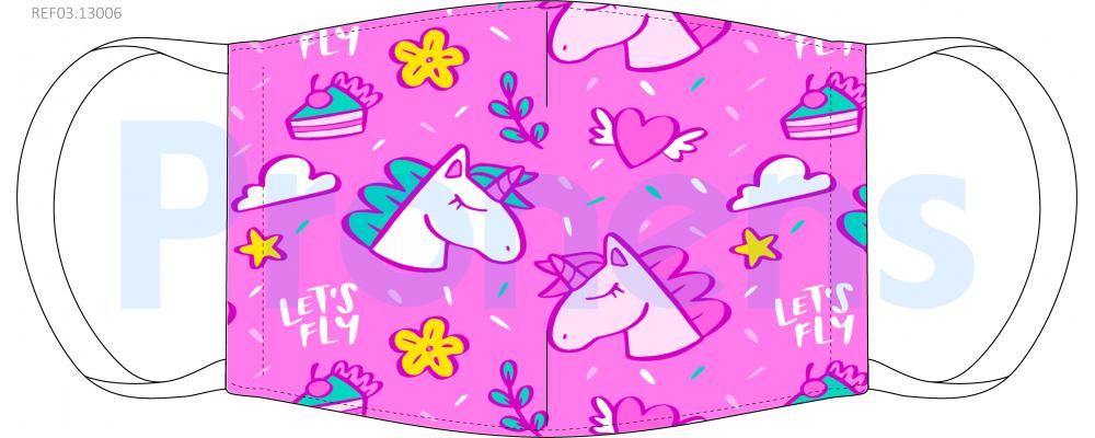 Fabricante Mascarilla higiénica lavable infantil unicornios Ref.03.13006 - Mascarillas higiénicas Pronens UNE0065