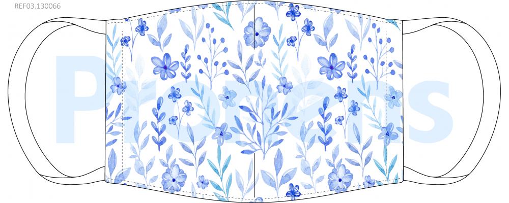Fabricante mascarilla higiénica lavable Flores azules Ref.03.130066 - Mascarillas higiénicas Pronens UNE0065