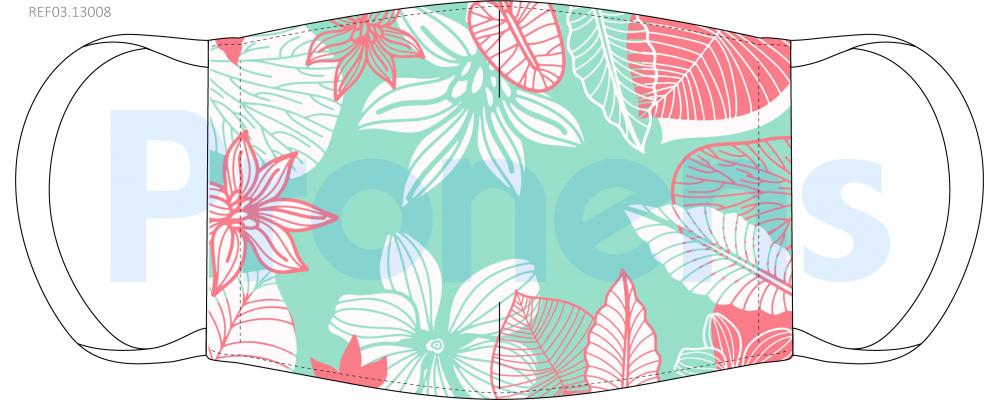 Fabricante Mascarilla higiénica lavable floral verde Ref.03.13008 - Mascarillas higiénicas Pronens UNE0065