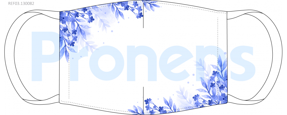 Fabricante mascarilla higiénica lavable blanca flores azules Ref.03.130082 - Mascarillas higiénicas Pronens UNE0065