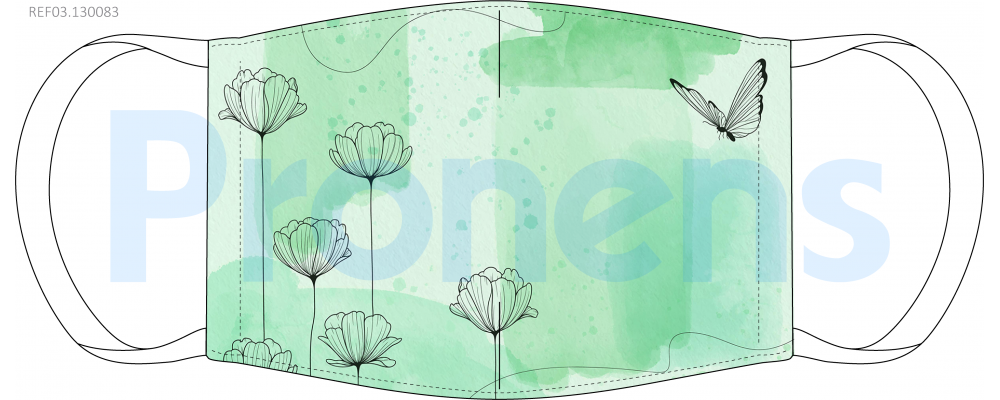 Fabricante mascarilla higiénica Mariposas verde Ref.03.130083 - Mascarillas higiénicas Pronens UNE0065