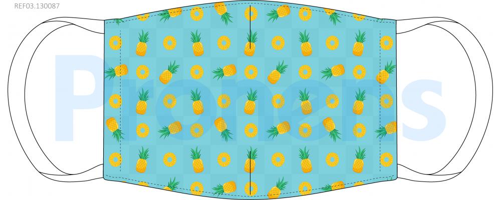 Mascarilla higiénica lavable Piñas turquesa Ref.03.130087 - Mascarillas higiénicas Pronens UNE0065
