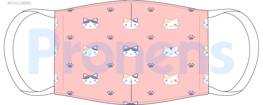 Mascarilla higiénica lavable infantil rosa gatos Ref.03.130092 - Mascarillas higiénicas Pronens UNE0065