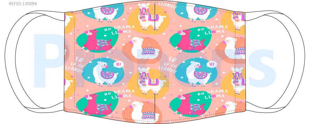 Mascarilla higiénica lavable infantil Llamas Ref.03.130094 - Mascarillas higiénicas Pronens UNE0065