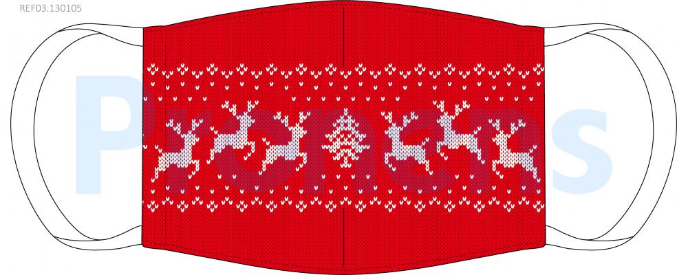 Mascarilla higiénica lavable jersey navideño rojo ciervos Ref.03.130105 - Mascarillas higiénicas Pronens UNE0065
