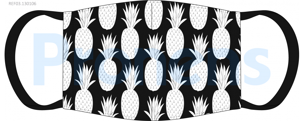 Mascarilla higiénica lavable negra Piñas Ref.03.130106 - Mascarillas higiénicas Pronens UNE0065