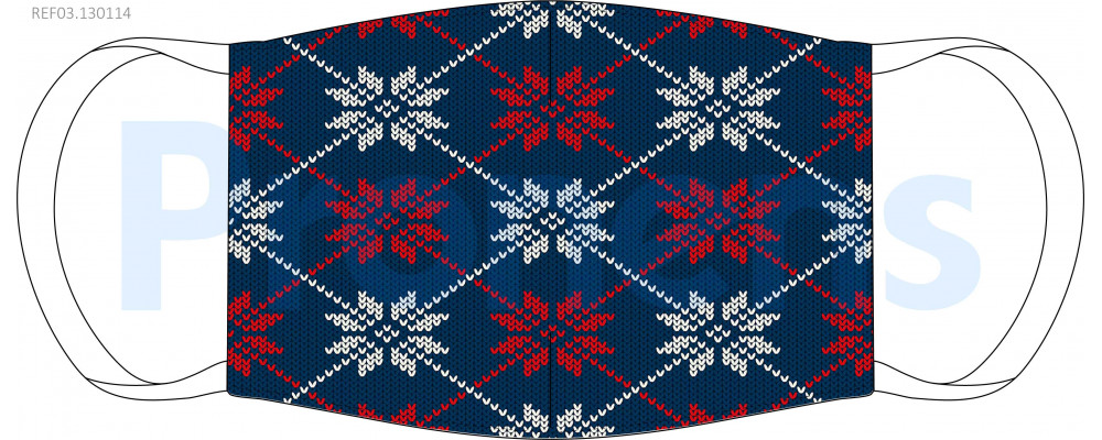 Mascarilla higiénica lavable jersey navideño azul y rojo Ref.03.130114 - Mascarillas higiénicas lavables Pronens UNE0065