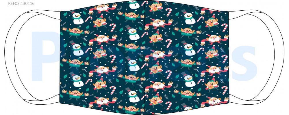 Mascarilla higiénica lavable infantil Navidad Ref.03.130116 - Mascarillas higiénicas lavables Pronens UNE0065
