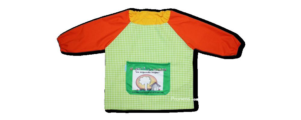 Batas babis escuela infantil con mangas de color naranja liso - batas babis guardería Pronens