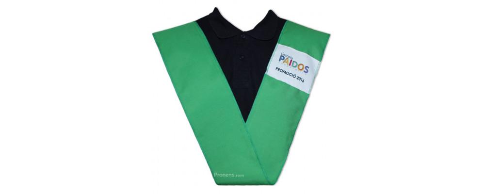 Fabricante bandas graduación personalizadas con parche verde