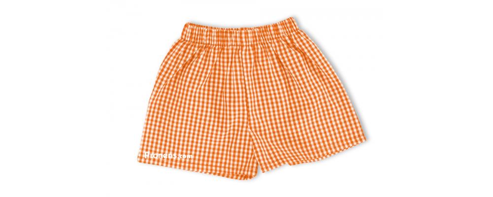 Pantalón cuadros naranja - Uniformes guardería Pronens