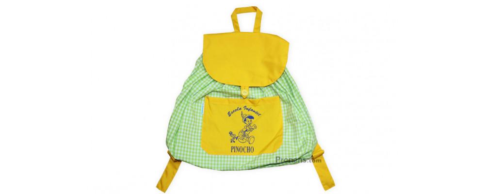 Fabricante mochila guardería de tela personalizada cuadro pistacho