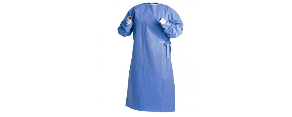 Bata de aislamiento desechable confeccionada en tejido no tejido impermeable y resistente. Con espalda completa