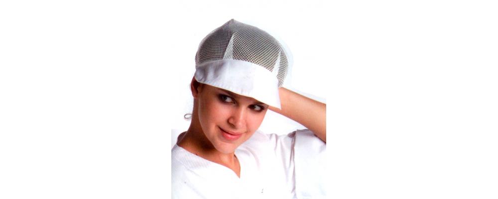 Cofia blanca con rejilla para cocinera