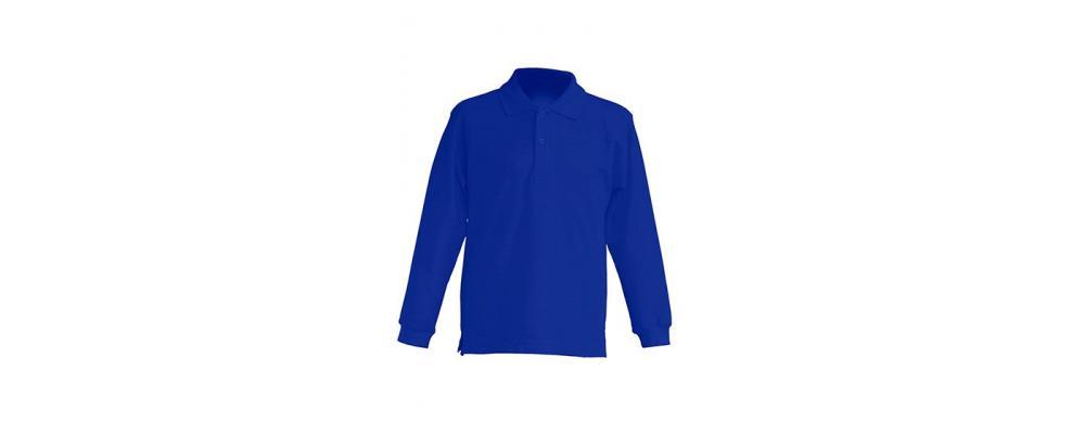 Polo escolar de manga larga azulón para escuelas infantiles y colegios - Polos escolares Pronens