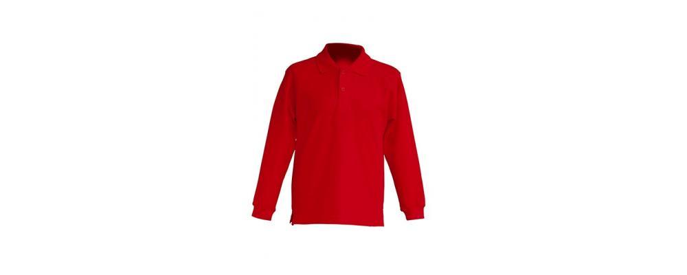Polo escolar de manga larga rojo para escuelas infantiles y colegios - Polos escolares Pronens