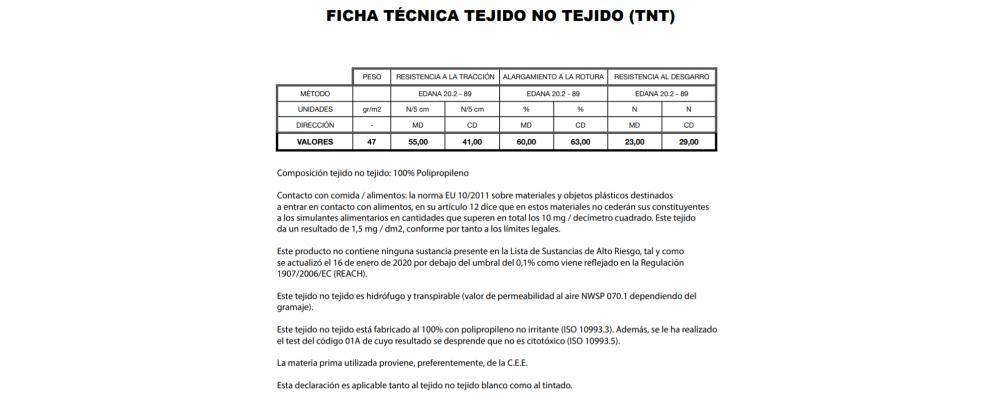 Certificado Tejido No Tejido (non woven) 47 gramos