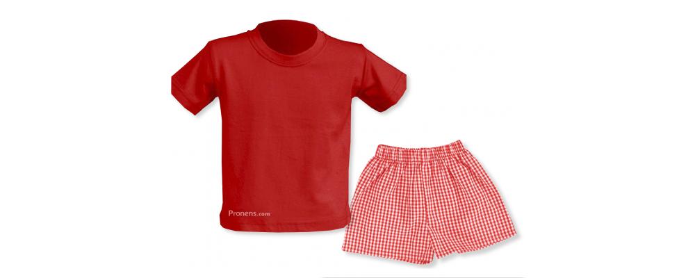 Conjunto verano rojo escuela infantil - Uniformes escuela infantil Pronens