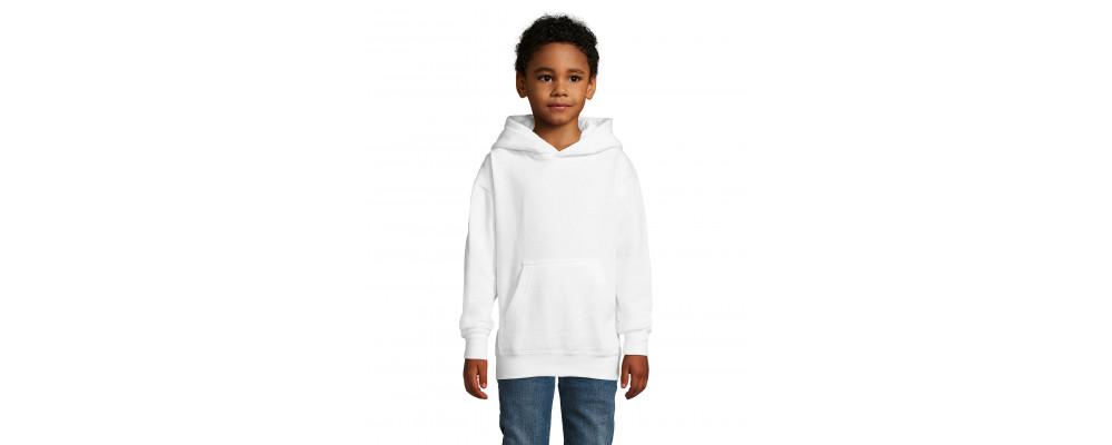 Fabricante textil de sudadera capucha canguro personalizada para colegios - blanco