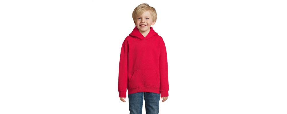 Fabricante textil de sudadera capucha canguro personalizada para colegios - rojo