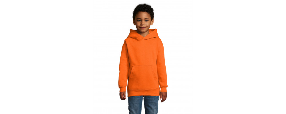 Fabricante textil de sudadera capucha canguro personalizada para colegios - naranja
