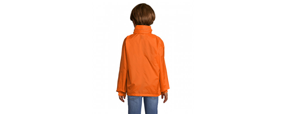 Cortavientos chubasquero impermeable personalizado para colegios y empresas - naranja espalda